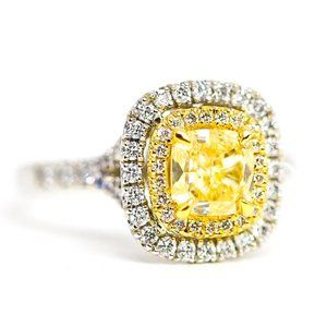 GIA 2.16 Carat Cushion Diamonds and Gold Ring
